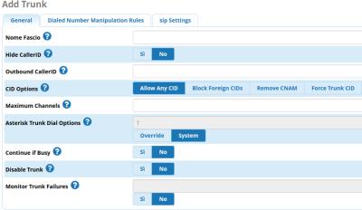 Schermata FreePBX per aggiungere un Fascio SIP