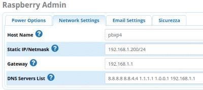 Schermata opzioni Raspberry Admin