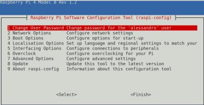 Schermata del tool raspi-config