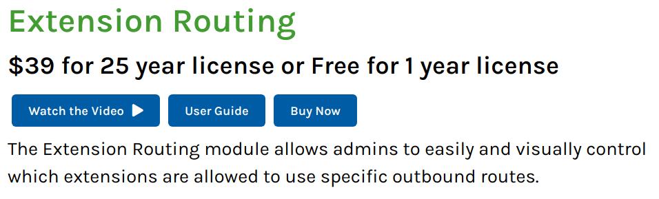 Extension Routing FreePBX plugin
